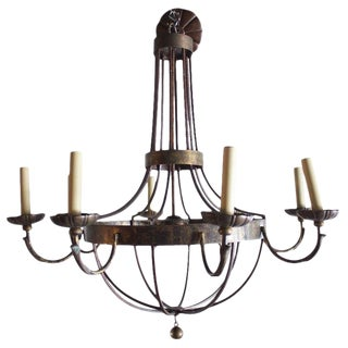 1920s English Wrought Iron and Bronze Eight-Light Chandelier For Sale