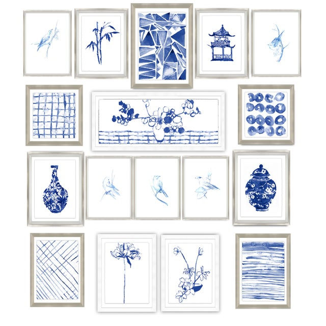 Sapphire Chinoiserie Print Set Framed Kenneth Ludwig Chicago - 17 Pieces For Sale - Image 12 of 12