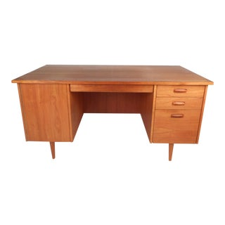 Large Vintage Modern Teak Desk With a Finished Back