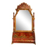 Image of 19th Century Red Chinoiserie Dressing Mirror For Sale