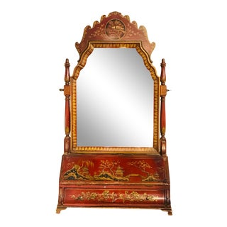 19th Century Red Chinoiserie Dressing Mirror For Sale