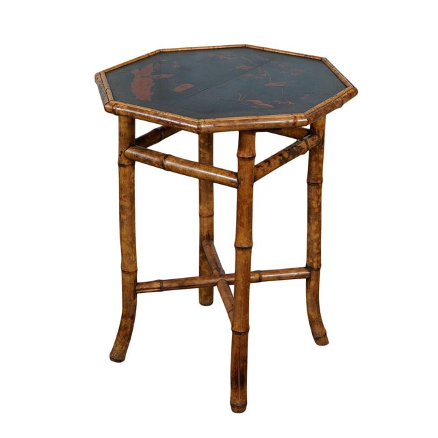 Octagonal Victorian Bamboo and Lacquer Side Table For Sale