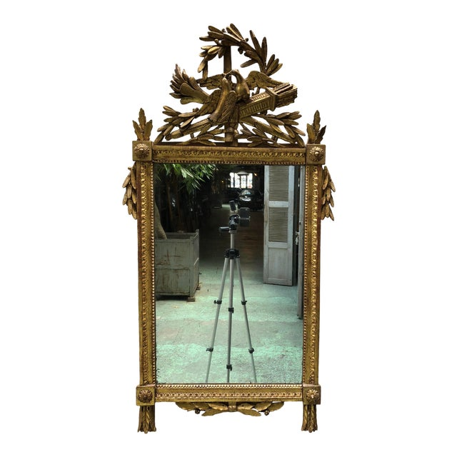 Louis XVI 18th Century Mirror With Two Birds in the Crest For Sale