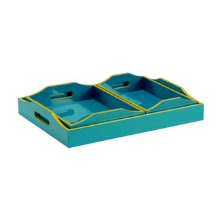 Wildwood Lexie Teal Trays - Set of 3 For Sale