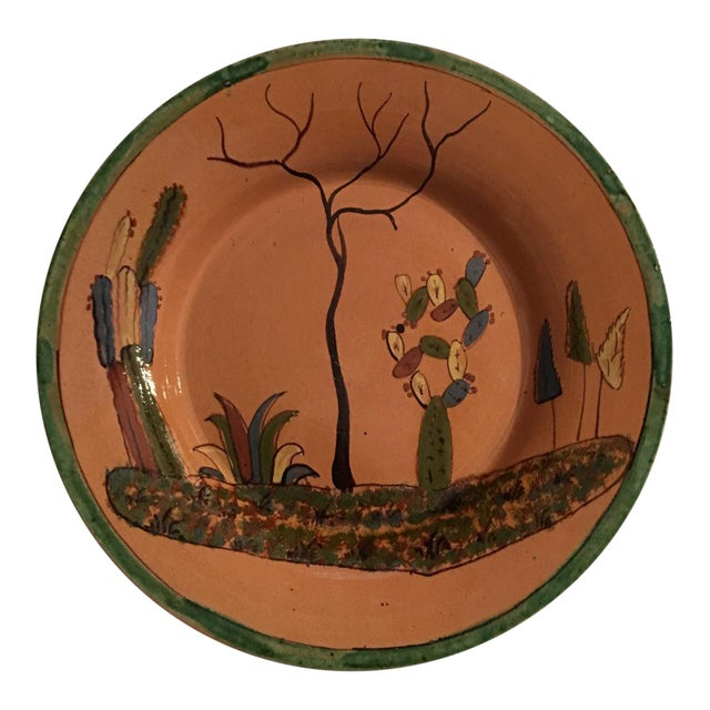 1930s Vintage Mexican Tlaquepaque Ceramic Pottery Folk Art Charger Plate For Sale