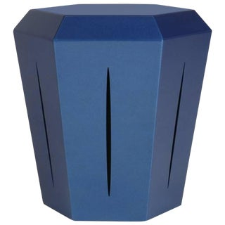 Hedra 14m, Painted Steel Metallic Blue Accent Table by Topher Gent For Sale