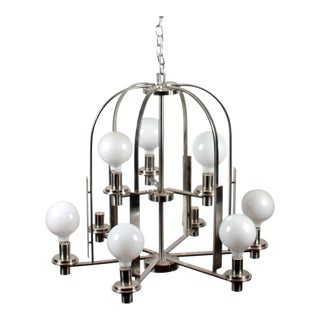 Modern Brushed Metal 9-Lamp Chandelier For Sale