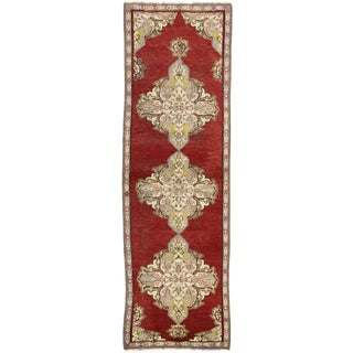 Early 20th Century Antique Turkish Oushak Hallway Runner Rug - 03'04 × 10′07 For Sale