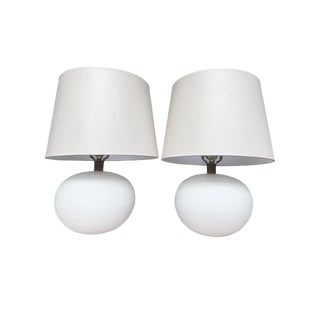 White Ceramic Globe Table Lamps Attributed to George Scatchard - a Pair For Sale