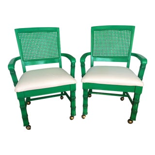 Faux Bamboo Cane Back Armchair on Casters - A Pair For Sale