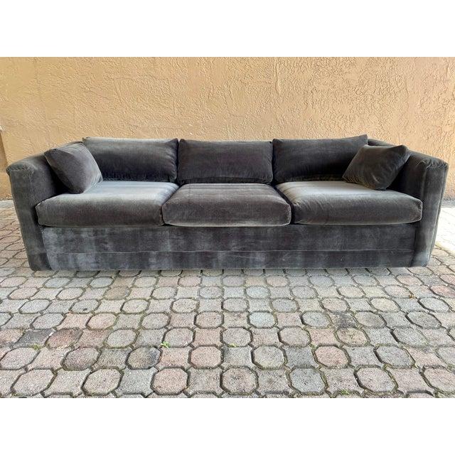 Mid-Century Modern Restored 70s Gray Velvet Tuxedo Sofa For Sale - Image 3 of 9