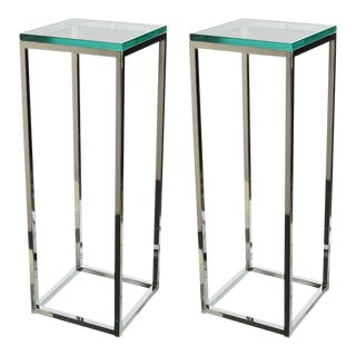 Pair of Milo Baughman Chrome and Glass Pedestals For Sale