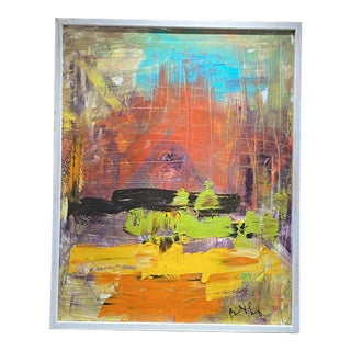 Late 20th Century Abstract Expressionist Oil Painting, Framed For Sale