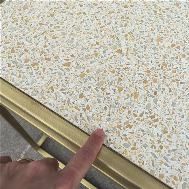 Gold Paul Laszlo Custom Brass and Terrazzo Table For Sale - Image 8 of 8