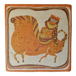 1959 Vintage Evelyn Ackerman 'Equestrian' Hooked Wool Tapestry For Sale