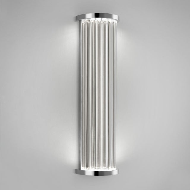 A polished chrome dimmable wall light made with individual clear rods rods throught which the LED light source sparkles...