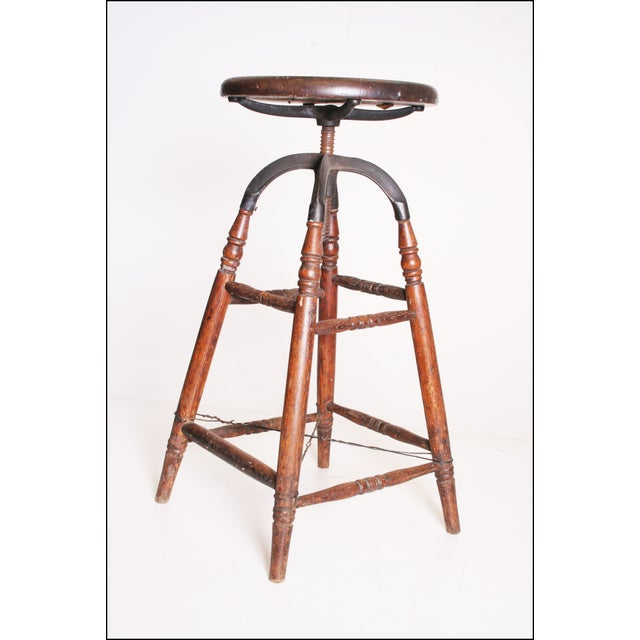 Vintage Industrial Wood & Cast Iron Adjustable Counter Stool - Image 7 of 11