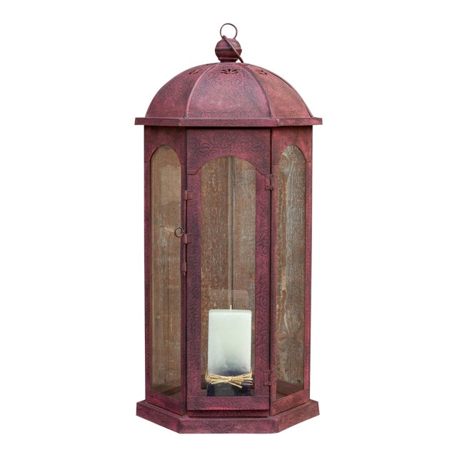 Ruby Acanthus Glass Lantern For Sale
