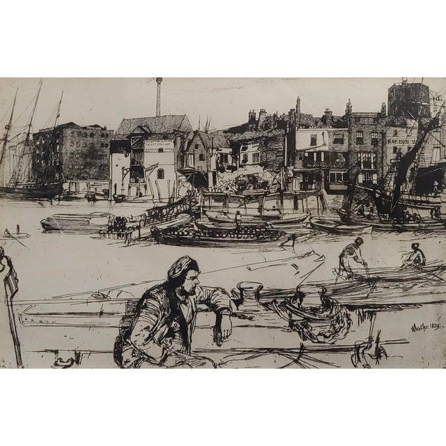 Abstract 1950s Vintage Black Lion Wharf Etching on Paper by James Whistler For Sale - Image 3 of 9