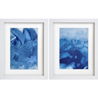 """""""Splashin I & II"""" Contemporary Abstract Mixed-Media Painting Diptych, Framed - a Pair For Sale"""