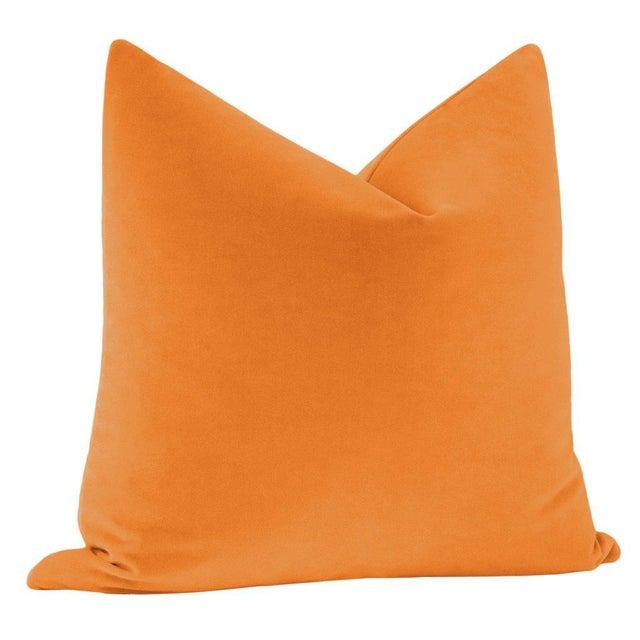 """Contemporary 22"""" Hermes Orange Italian Velvet Pillows - a Pair For Sale - Image 3 of 5"""
