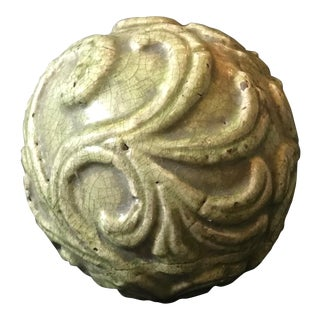Ming Chinese Longquan Celadon Carved Sphere Porcelaneous Stoneware For Sale