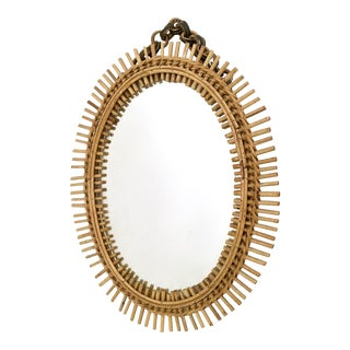 Oval Wall Mirror in the Style of Franco Albini with a Wicker Frame, Italy, 1950s For Sale