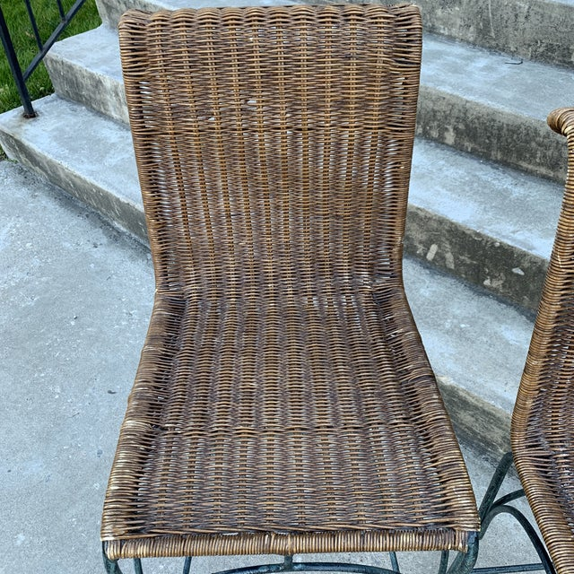 Vintage Wicker & Iron Bar Stools - Set of 3 For Sale - Image 4 of 12