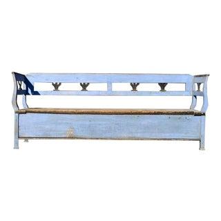 Biedermeier Cornflower Blue Blanket Hall Bench