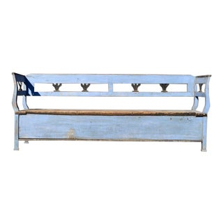Swedish Biedermeier Cornflower Blue Blanket Hall Bench For Sale