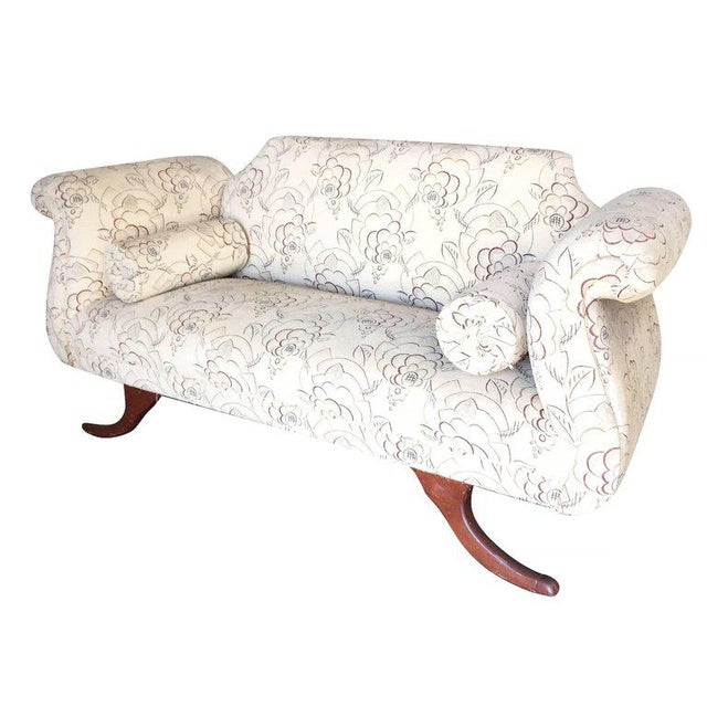 Empire Duncan Phyfe Style Love Seat Settee with Scrolling Arms For Sale - Image 3 of 9