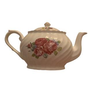 Arthur Wood English Cabbage Rose Tea Pot For Sale