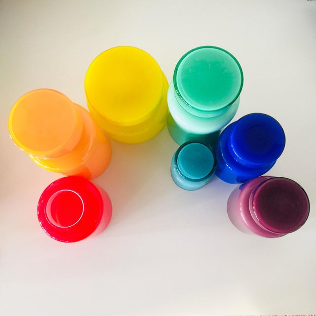 Rainbow Empoli Cased Glass Jars - Set of 7 For Sale - Image 10 of 11