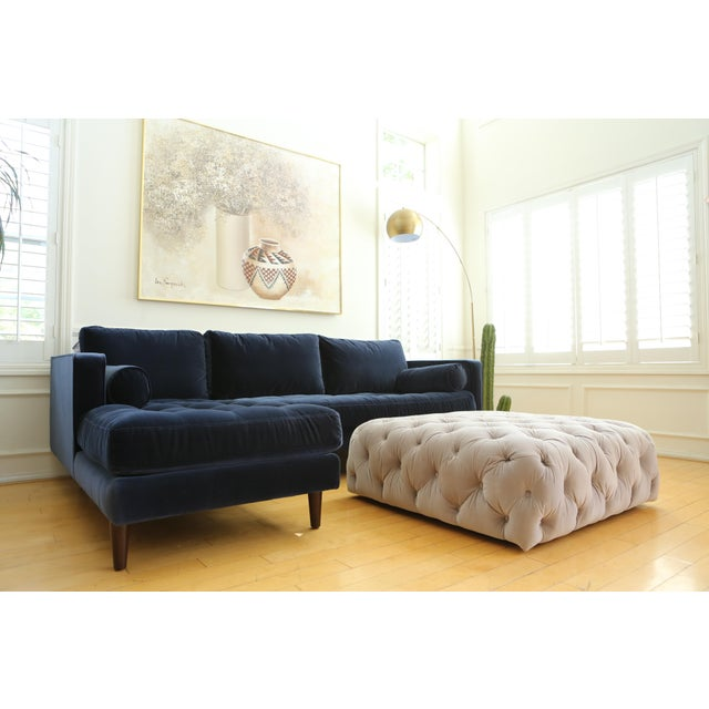 Velvet tufted Ottoman Coffee Table For Sale - Image 4 of 6