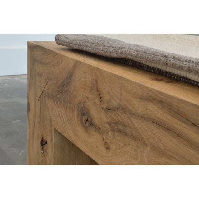 Benchmade by OZ|SHOP woodworkers in Scottsdale, Arizona. Long antique reclaimed oak bench with waterfall sides with...