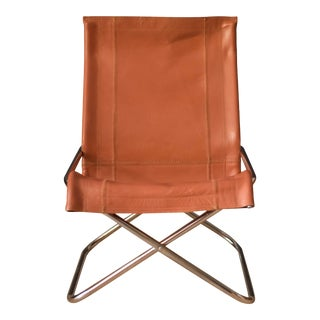 Vintage Takeshi Nii Leather and Chrome Sling Chair For Sale