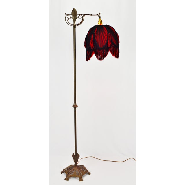 Art Deco Floor Lamp With Black And Red Fringe Lamp Shade Chairish