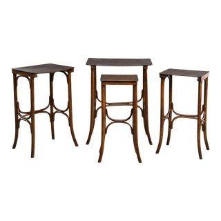 Thonet Quartetto Walnut Bentwood Stacking Tables - Set of 4 For Sale