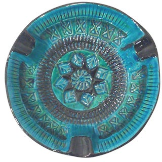 Bitossi Rimini Vintage Turquoise & Black Ashtray For Sale