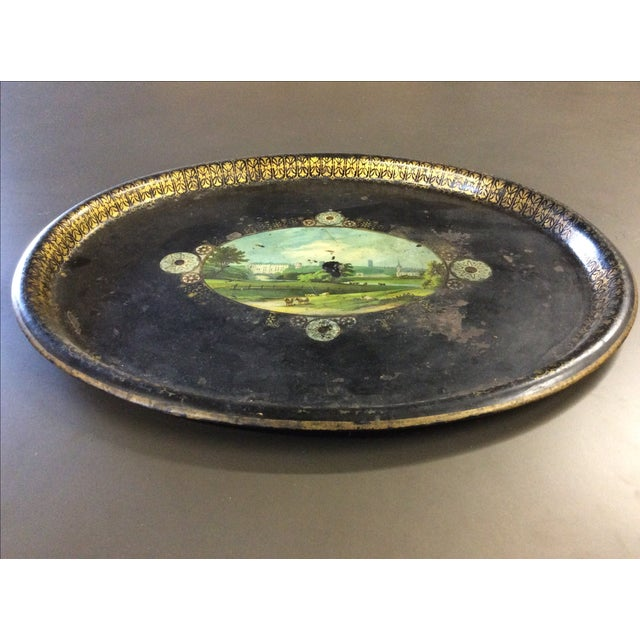 Shabby Chic Black Antique Tole Tray - Image 2 of 4