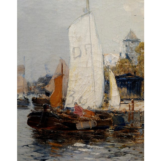Old Amsterdam With Boats - 19th Century Dutch Impressionist Oil Painting For Sale In Los Angeles - Image 6 of 11
