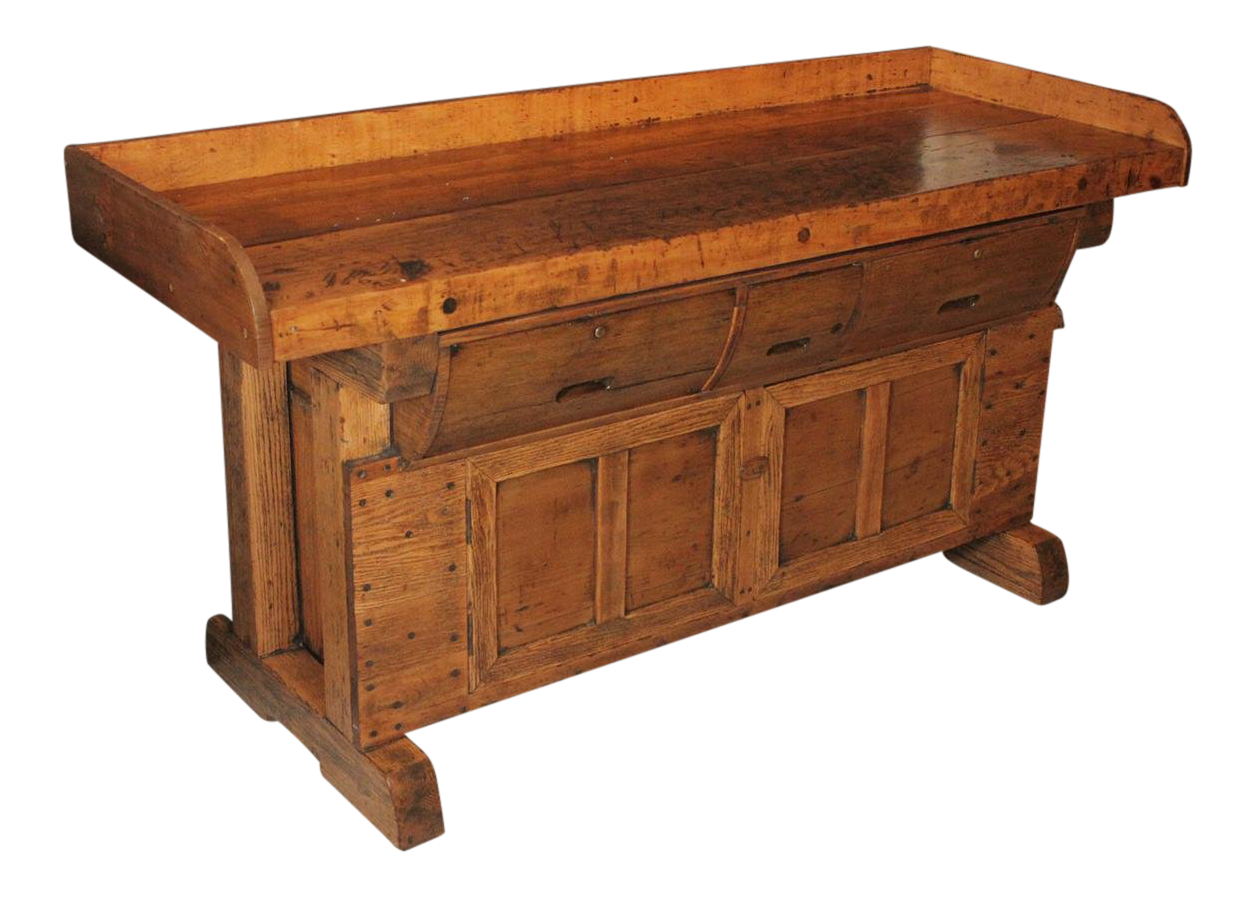 Early 1900s Antique Carpenters Workbench With Drawers For Sale