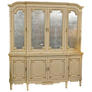 Maison Jansen Ivory Painted Bookcase For Sale