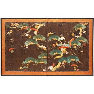 19th Century Edo Japanese Embrodery Screen For Sale
