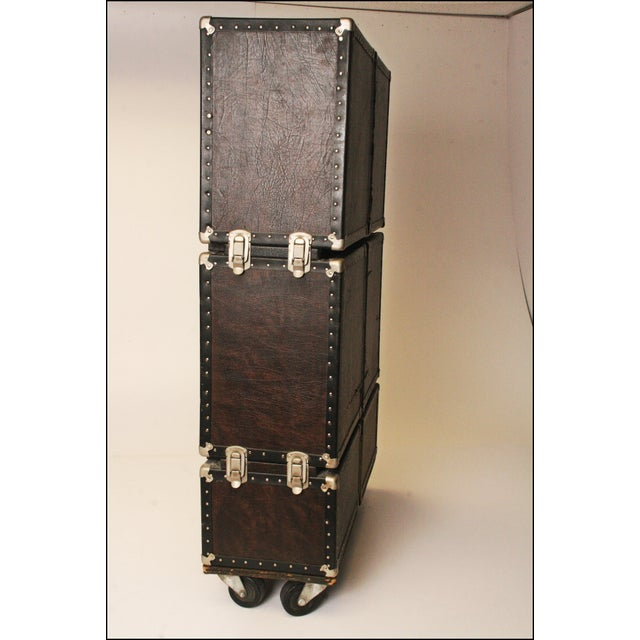 Vintage Industrial Black Steamer Storage Trunk - Image 7 of 11