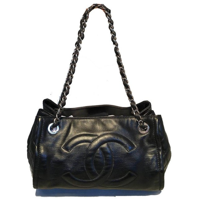Contemporary Chanel Black Leather Mini Duffle Shoulder Bag For Sale - Image 3 of 12
