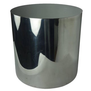 Aluminum Circular Side Table With Stainless Steel Top For Sale