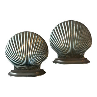 Vintage Brass Scallop Seashell Bookends a Pair For Sale