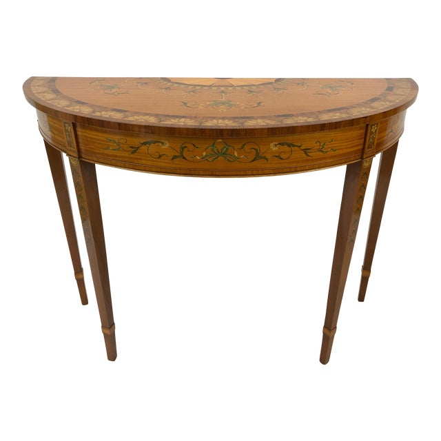 1970s Traditional Hand Painted Demilune Console Table For Sale