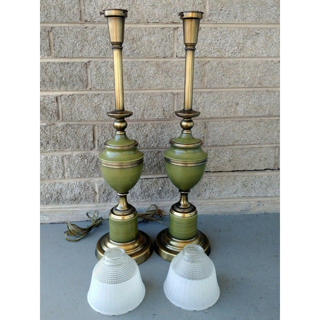 Vintage Rembrandt Brass & Green Enamel Hollywood Regency Table Lamps With Diffuser - a Pair For Sale - Image 11 of 13